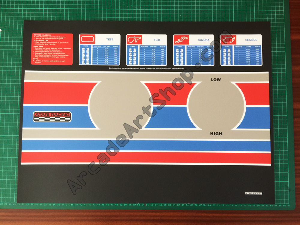 Pole Position 2 control panel overlay