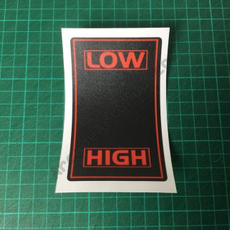 Low High shifter decal red black