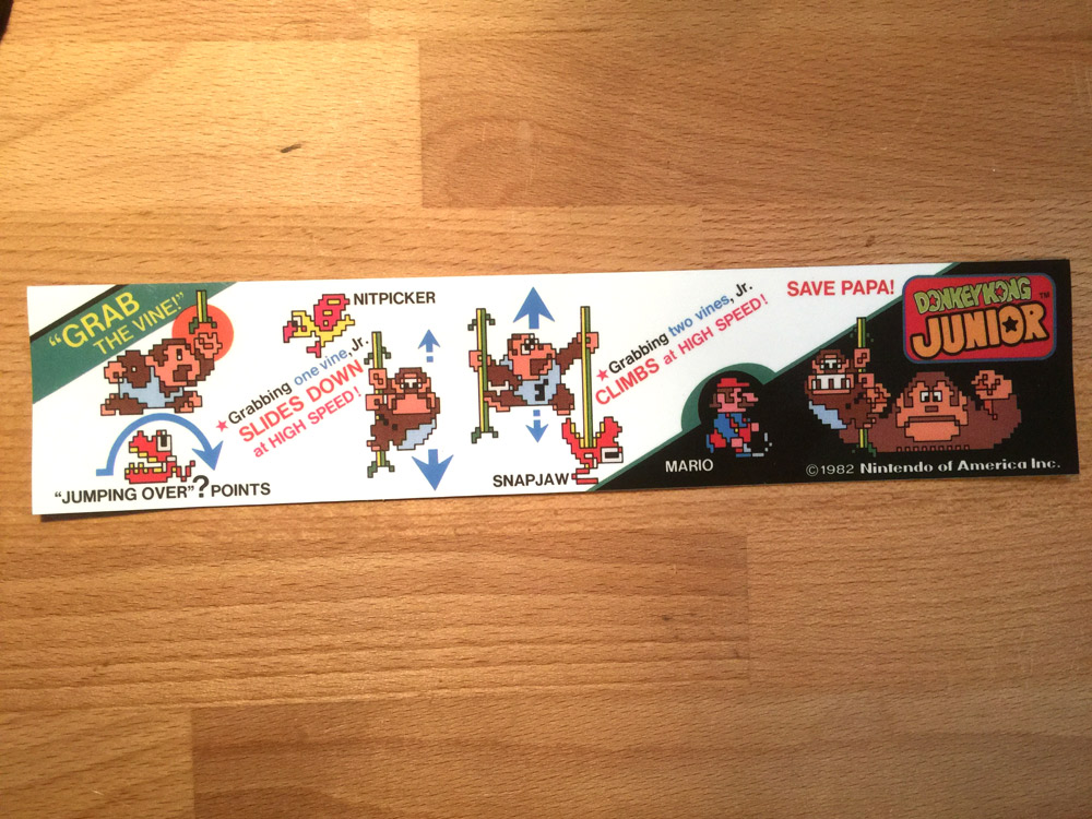 Donkey Kong Jr. instruction decal