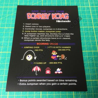 Nintendo Donkey Kong instruction card