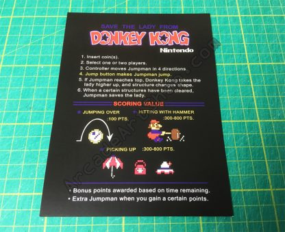 Nintendo Donkey Kong instruction card