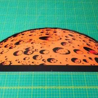 space invaders moon backdrop perspex