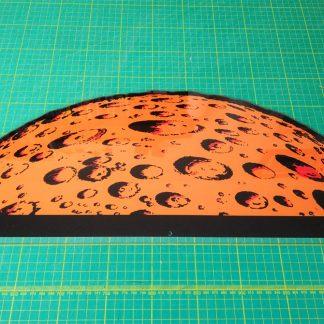 space invaders moon backdrop perspex