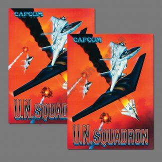 UN Squadron side art decals pair