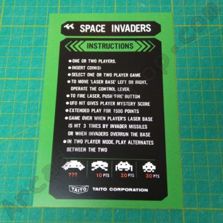 space invaders taito english instruction card