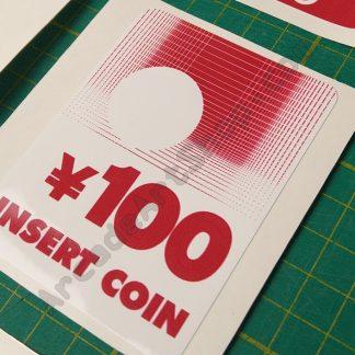 taito vewlix F insert coin 100 yen sticker