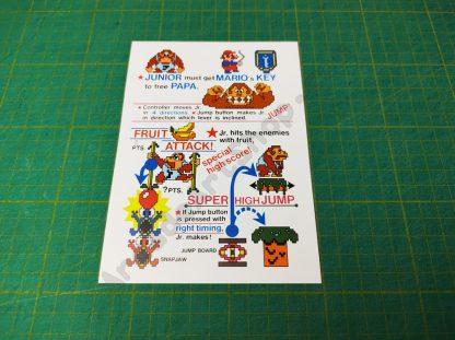 donkey kong jr instruction card