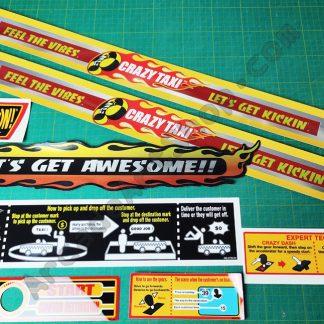 crazy taxi sega upright sticker set 8 pieces