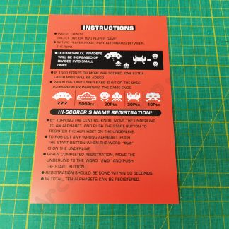 space invaders part 2 instruction card