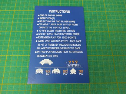 space invaders upright instruction card
