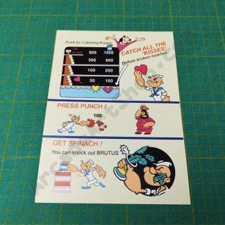 popeye instruction card